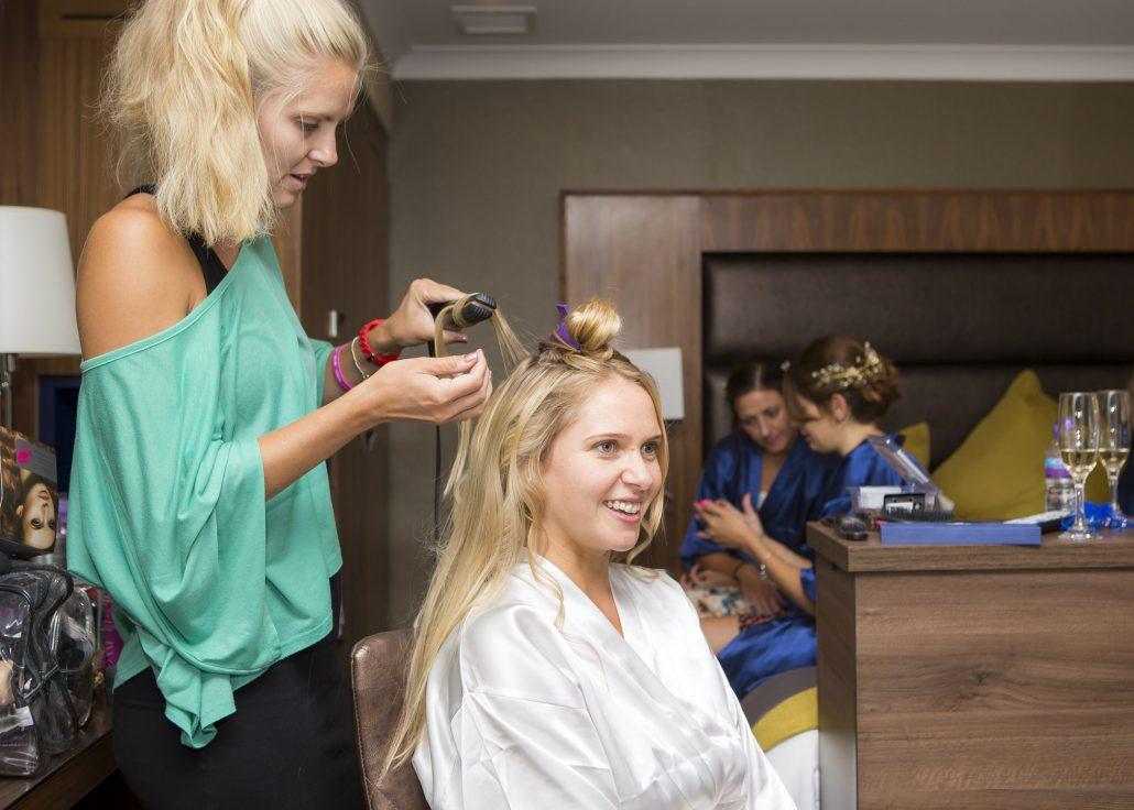 Wedding hair and makeup for frensham pond wedding